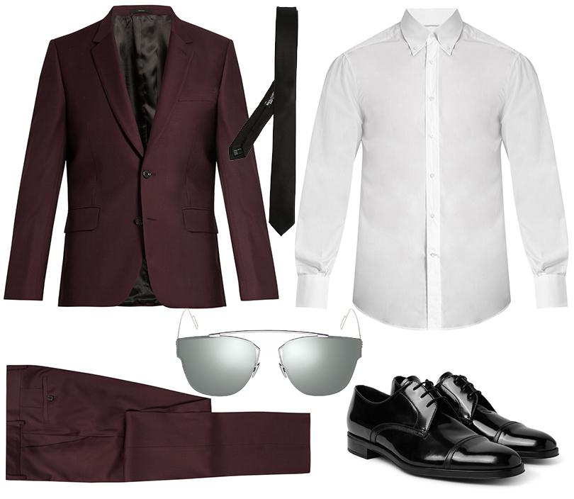 Костюм, Paul Smith; рубашка, Brunello Cucinelli; очки, Dior Homme; галстук, Dolce &Gabbana; ботинки, Prada