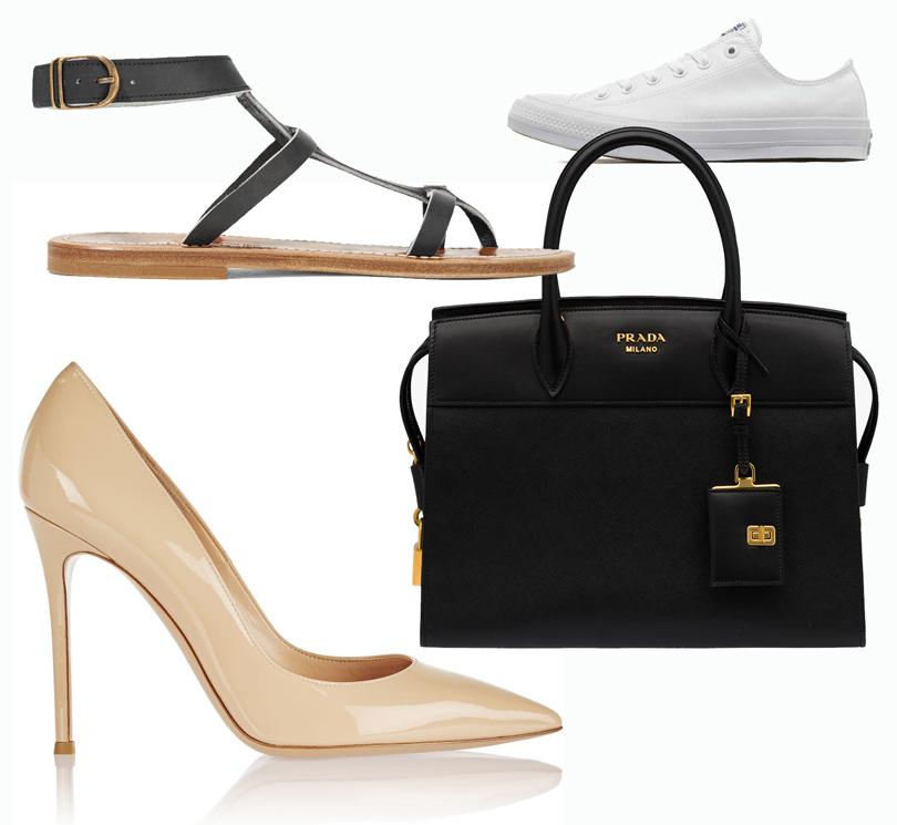 Trend Alert: модный минимализм. Новый подход к созданию базового гардероба. Классические лодочки Gianvito Rossi, сандалии KJacques StTropez, кеды Converse, сумка Prada