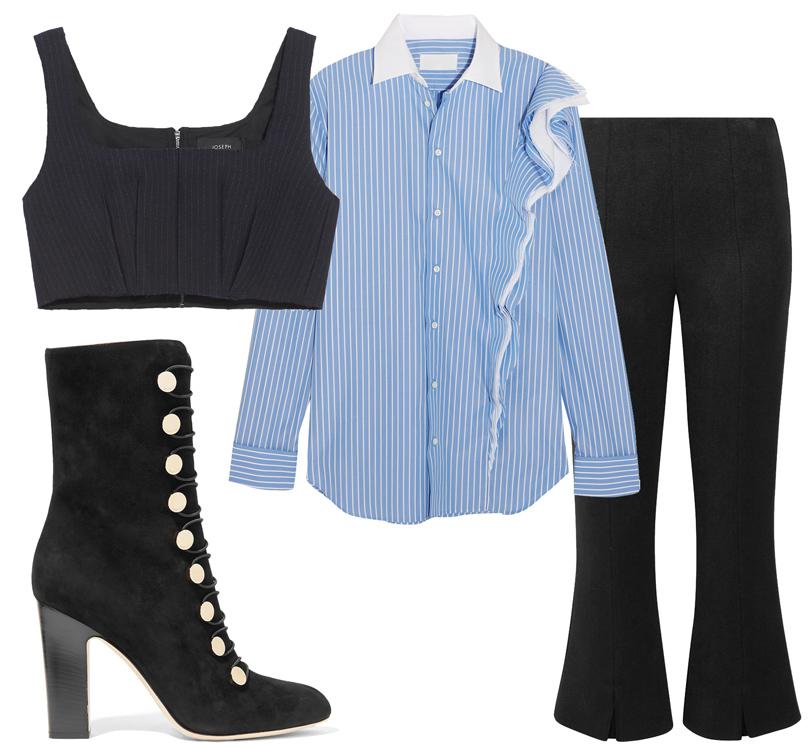 Office Style: адаптируем самые «горячие» подиумные тренды весны для корпоративного дресс-кода. Сорочка Maison Margiela, бюстье Joseph, укороченные брюки сразрезами byMalene Birger, сапоги Jimmy Choo