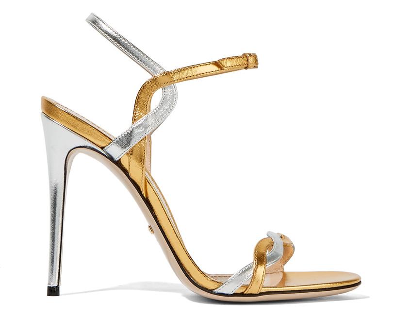 Новый год. Дресс-код: 28лучших пар обуви для новогодней вечеринки. Двухцветные босоножки Gucci изметаллизированной кожи