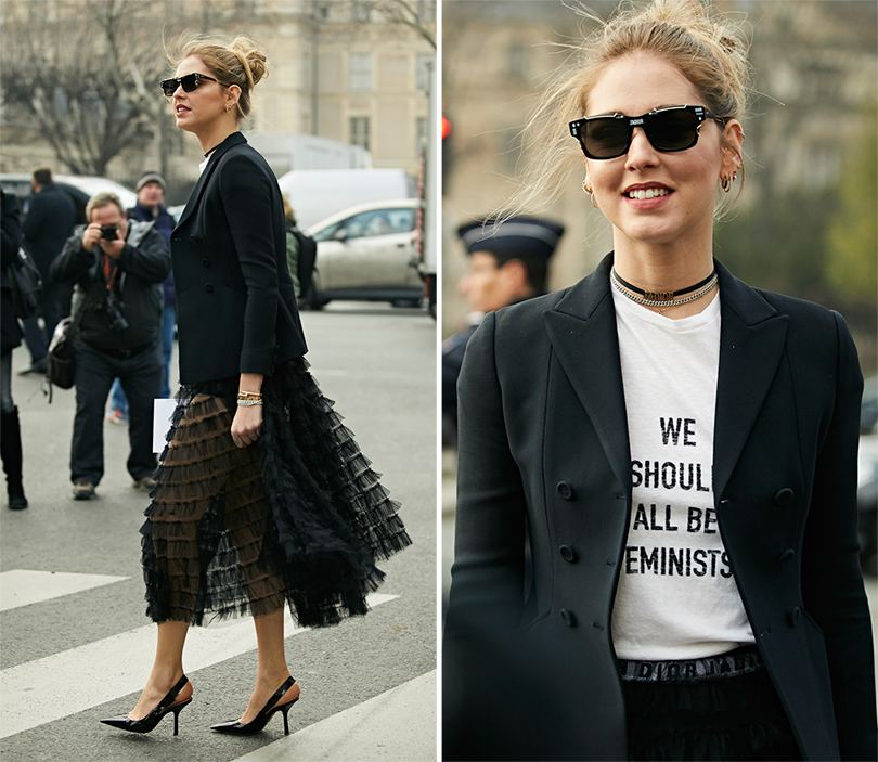 Street-Style: эксклюзивные фотографии с первого дня Недели кутюра в Париже в объективе Ино Ко. Кьяра Ферраньи