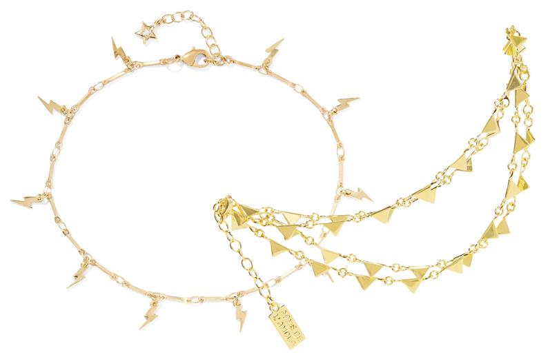 Позолоченный браслет на щиколотку с подвесками в виде молний IAM by Ileana, многослойный браслет на щиколотку Arme De L'Amour