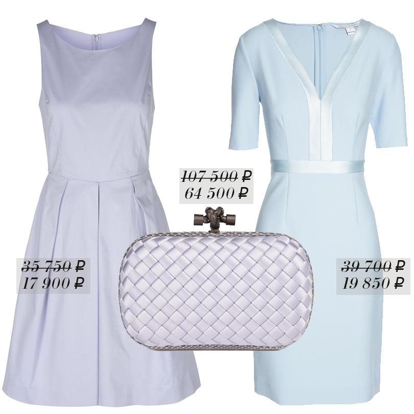 Приталенное платье без рукавов Armani Collezioni, классический плетеный клатч Bottega Veneta, платье сV-образным вырезом Diane Von Furstenberg