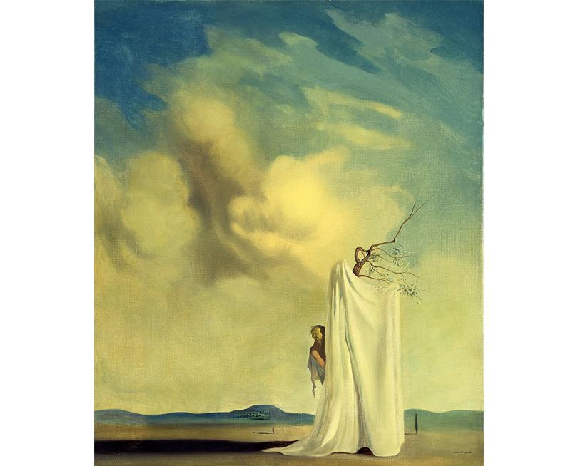 Сальвадор Дали. Фигура идрапировка нафоне пейзажа.1935