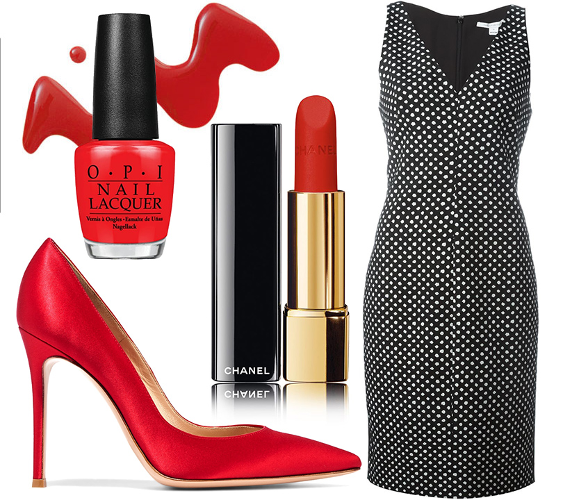 Платье Diane onFurstenberg, туфли Gianvito Rossi, помада Chanel Rouge Allure Velvet оттенка Rouge Feu, лак для ногтей O.P.Iв оттенке Big Apple Red.