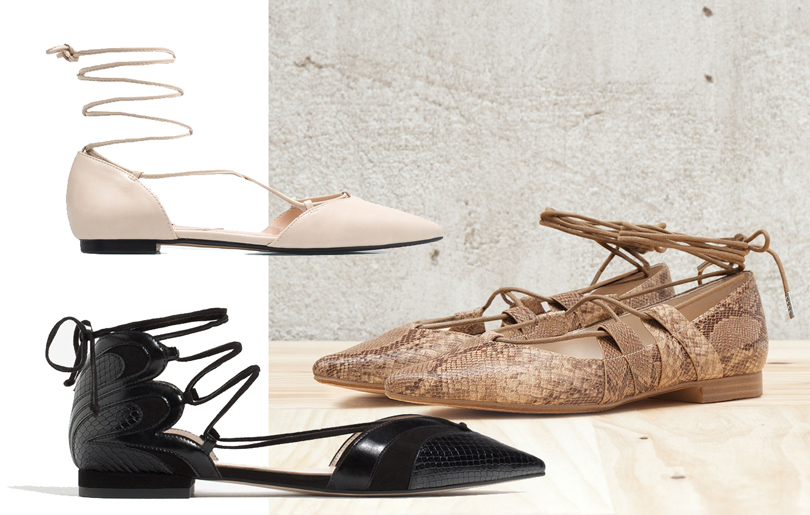 Балетки цвета слоновой кости натонкой шнуровке Mango, балетки изискусственной кожи под змею свысокой шнуровкой Bershka, балетки изтекстурированной искусственной кожи Zara