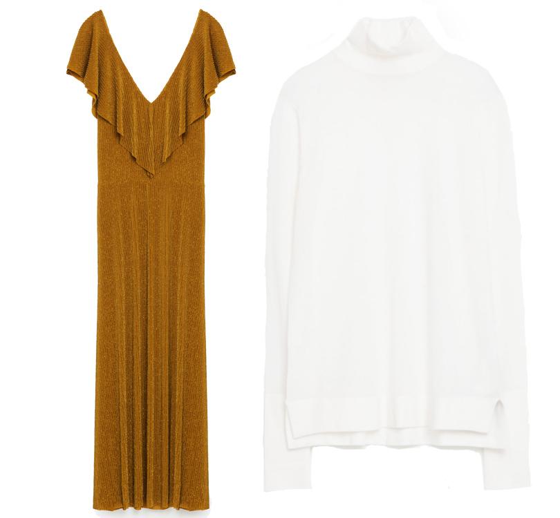 Белая водолазка иплатье сглубоким V-образным вырезом Zara