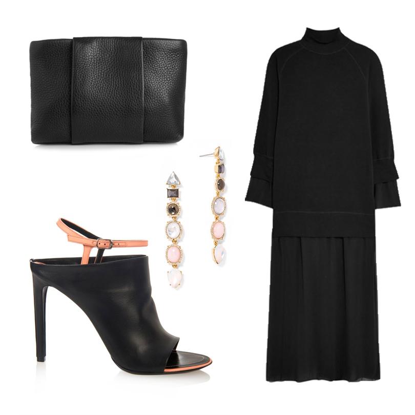 Платье-свитер MM6 Maison Margiela с полупрозрачной юбкой, закрытые босоножки Balenciaga, минималистичный клатч Alexander Wang, серьги BaubleBar Derby Drops