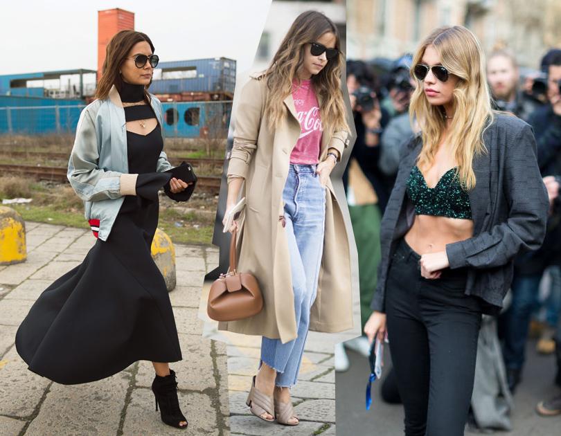 Лучшие образы street style на Неделе моды в Милане: Модный редактор и консультант по стилю Кристин Сентенера, Мирослава Дума, модель Стелла Максвелл