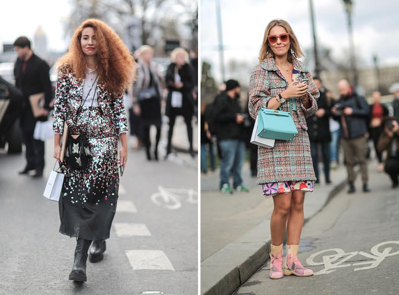 Street Style: уличная мода на Неделе Haute Couture в Париже. Наташа Зинько и Ксения Собчак