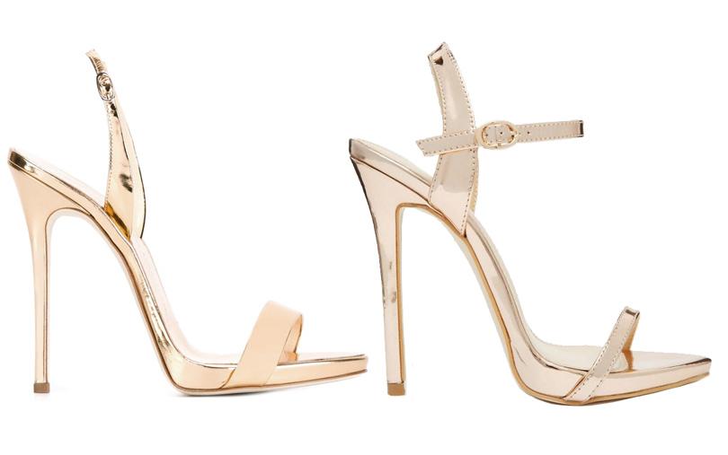 Мода и бизнес: найти десять отличий. Как масс-маркет «вдохновляется» люксовым сегментом. Босоножки иззолотой металлизированной кожи Guiseppe Zanotti Design VSбосоножки иззолотой металлизированной кожи ASOS