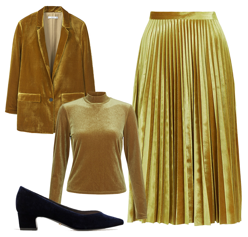 Жакет Mango, водолазка New Look, плиссированная миди-юбка избархатистой ткани Topshop, бархатные туфли Uterque