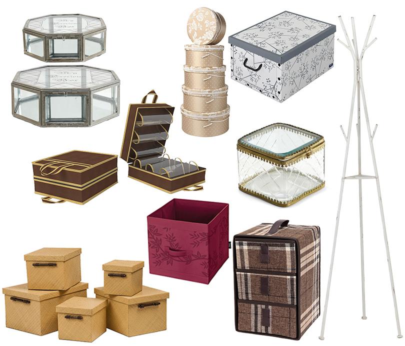 Дизайн & Декор: стильная и удобная гардеробная — как ее организовать? Кейсы для обуви, серебристая вешалка для шляп, стеклянные шкатулки для украшений, шляпные коробки, коробки для вещей — Westwing