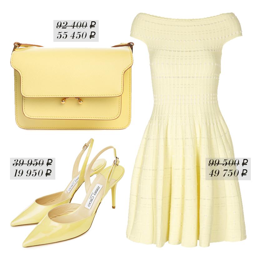 Платье сприспущенной плечевой линией Alexander McQueen, сумка изтекстурированной кожи Marni, туфли Jimmy Choo
