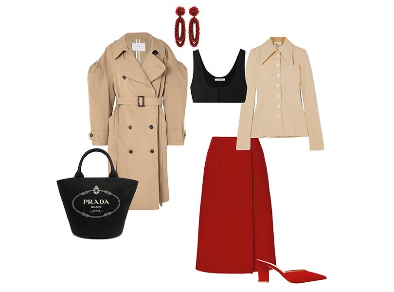 Пальто, Pushbutton; рубашка, A.W.A.K.E.; корсет, The Row; юбка, Valentino; сумка, Prada; серьги, Bibi Marini; мюли, Aeyde