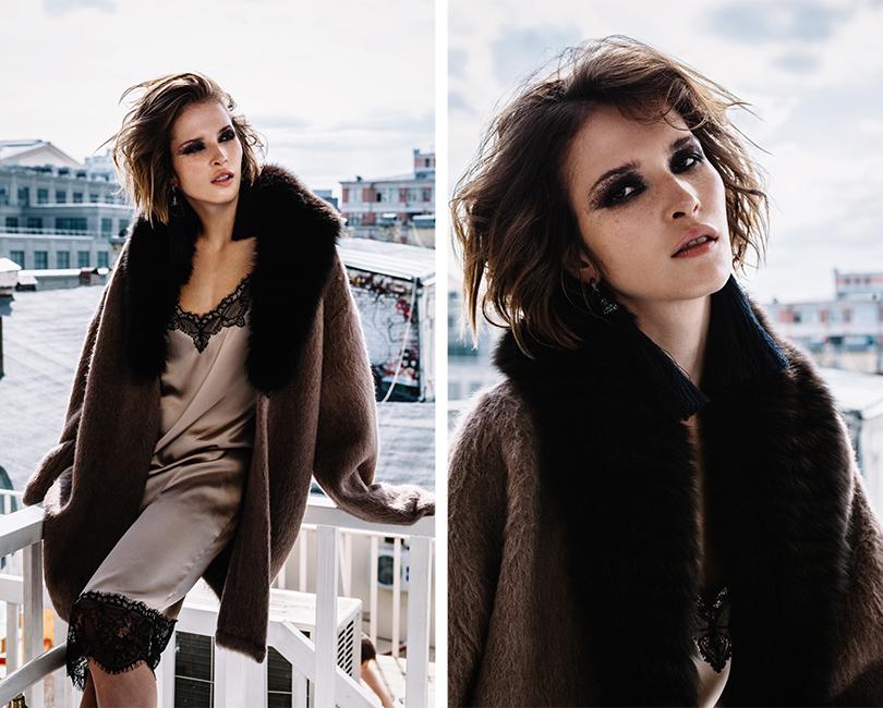НаЛукерье: платье изшёлка скружевом Girlpower, трикотажный кардиган смехом лисы Roberto Cavalli, серьги изметалла итекстиля Lanvin