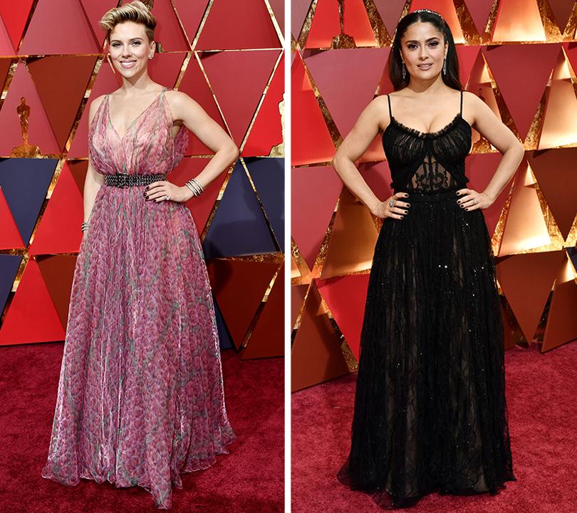 Oscars Special 2017: образы звезд на красной ковровой дорожке церемонии «Оскар». Скарлетт Йоханссон. Сальма Хайек