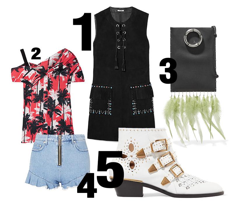 Платье, Miu Miu; топ, JasonWu; сумочка, The Row; шорты, MSGM; ботинки, Chloé