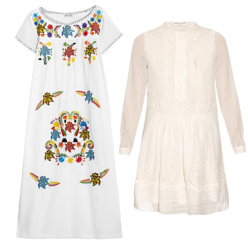 Хлопковое платье свышивкой Sensi Studio, платье-рубашка Saint Laurent