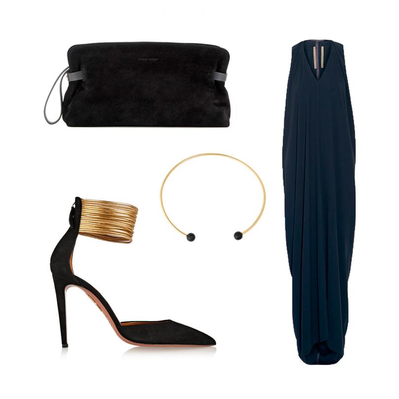Темно-синее платье Rick Owens, туфли Aquazzura, жесткое ожерелье из позолоченного металла Isabel Marant, замшевый клатч Tomas Maier