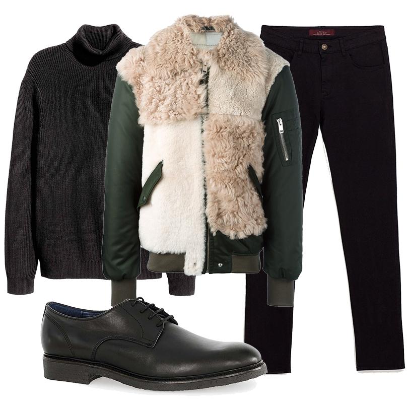 Men inStyle: утепляемся совкусом. Какую верхнюю одежду носить вноябре? Бомбер смеховыми вставками Diesel, водолазка H&M, брюки Zara, ботинки Topman
