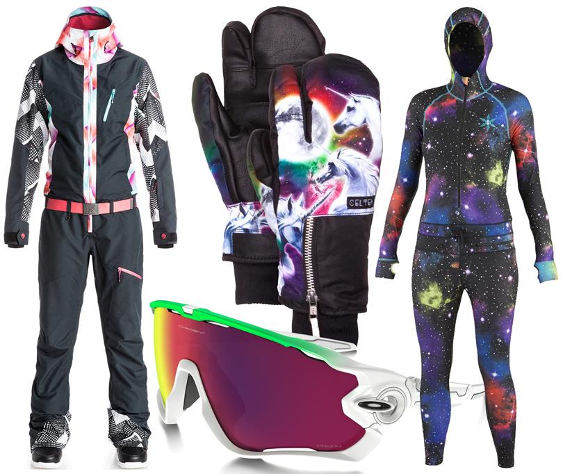 Style Notes: 8стильных образов для горнолыжного курорта налюбой вкус ибюджет. Комбинезон Roxy, термо-комбинезон Airblaster, маска Oakley, варежки Celtek