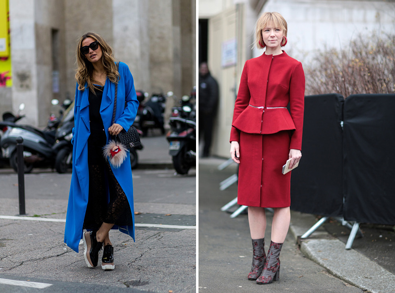 Street Style: уличная мода на Неделе Haute Couture в Париже. Вика Газинская (справа)
