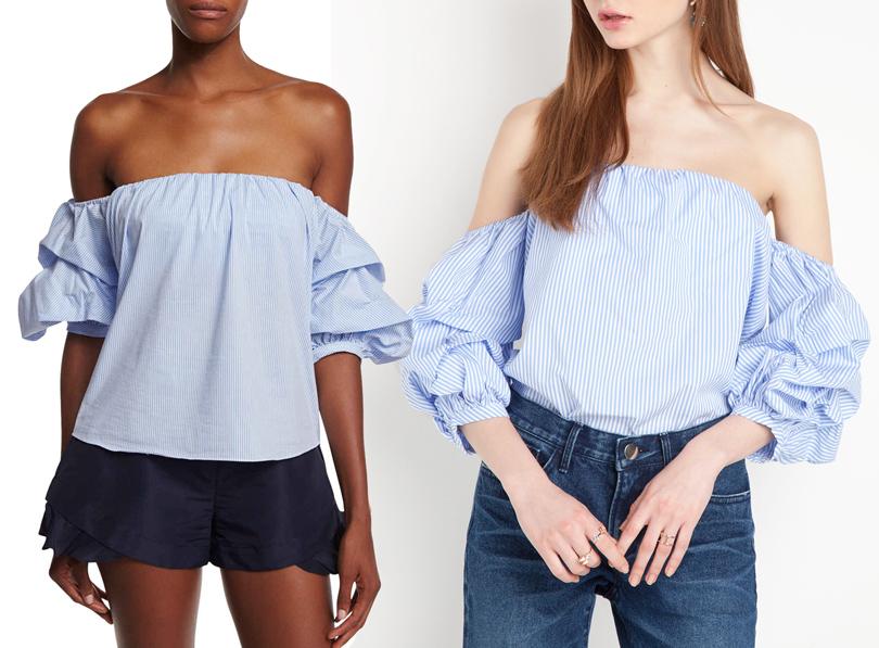 Мода и бизнес: найти десять отличий. Как масс-маркет «вдохновляется» люксовым сегментом. Топ cприспущенной плечевой линией Johanna Ortiz VSтоп сприспущенной плечевой линией Pixie Market