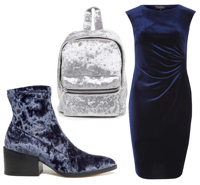 Рюкзак изсеребристой бархатной ткани Skinnydip, ботильоны наустойчивом каблуке ASOS, платье Dorothy Perkins