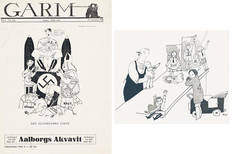 """«""""Да, нет, да, нет"""". Гитлер гадает наромашке, уподручных наготове спички», 1938 / «Продавщица вкукольном отделе объясняет девочке, что новые куклы говорят не«мама», а«Хайль, Гитлер!», 1935"""
