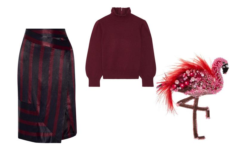 Юбка, ByMalene Birger; свитер изкашемира, Co(Net-a-Porter); брошь-фламинго, PlanktON (Aizel)
