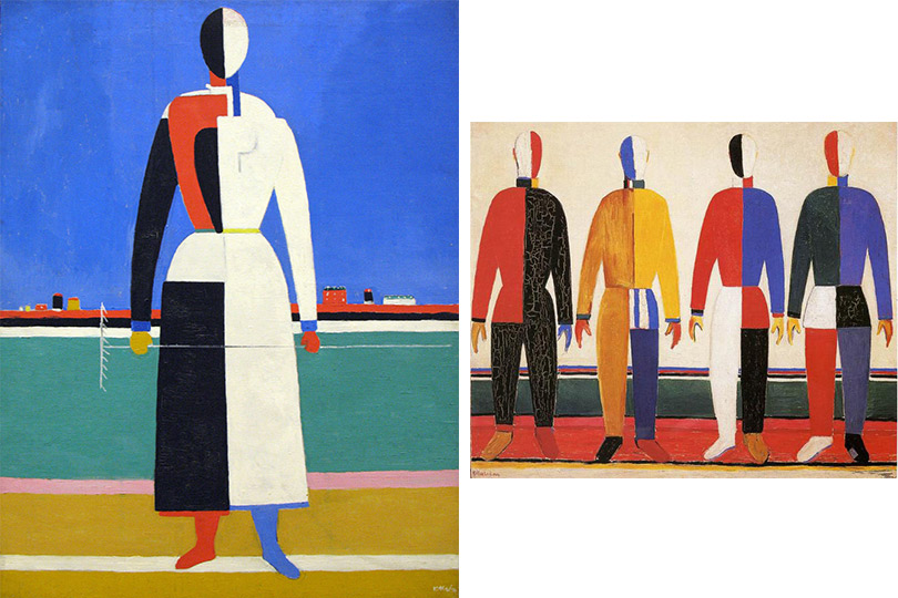 Казимир Малевич. Женщина сграблями (1930–1931) Казимир Малевич. Спортсмены (1930–1931)