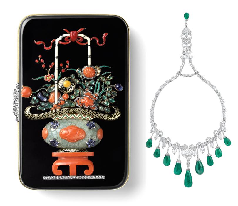 Идея науикенд: изучаем стиль ар-деко навыставке Института костюма Киото вКремле. Несессер «Китайская ваза» отCartier (1927г.). Колье-воротник отVan Cleef &Arpels (1929г.)
