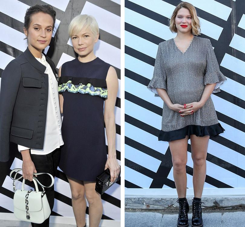 Style Notes: показ Louis Vuitton на Неделе моды в Париже. Алисия Викандер и Мишель Уильямс, Леа Сейду