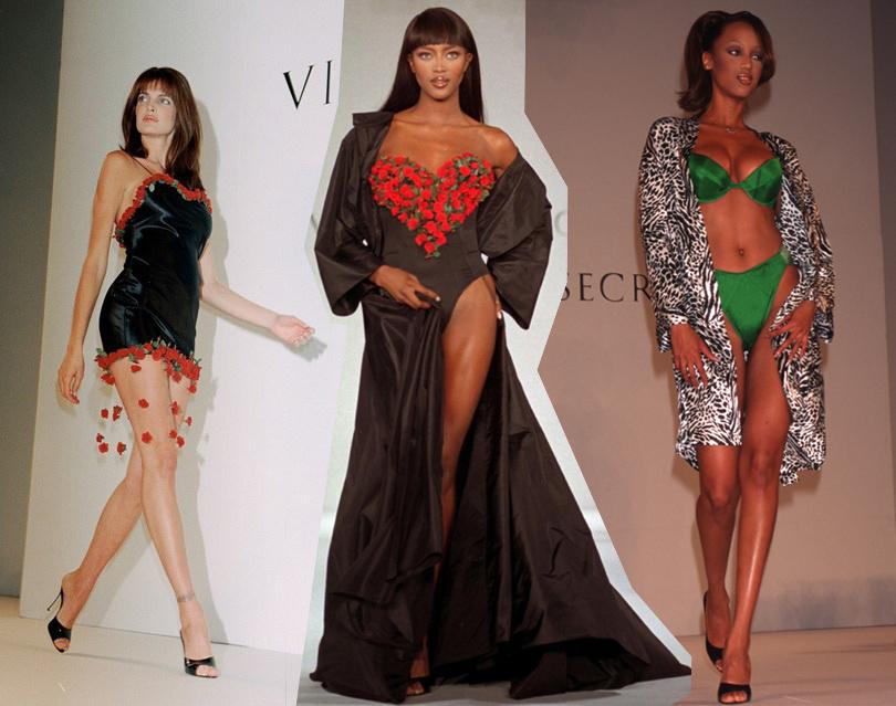 Style Notes: секреты Victoria's Secret. Как превратить бренд в культурный феномен? 1996 год. Тайра Бэнкс, Наоми Кэмпбелл и Хелена Кристенсен на показе Victoria's Secret.