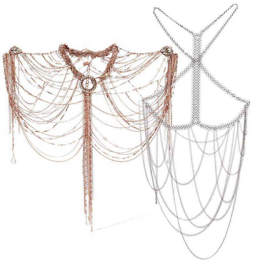 Украшение для тела ручной работы Erickson Beamon, серебряная цепочка для тела Fannie Schiavoni