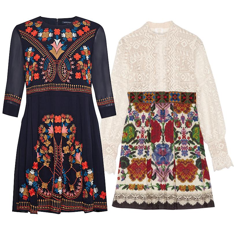 Темно-синее платье сдекоративной вышивкой French Connection, мини-платье сфольклорным скандинавским принтом Anna Sui