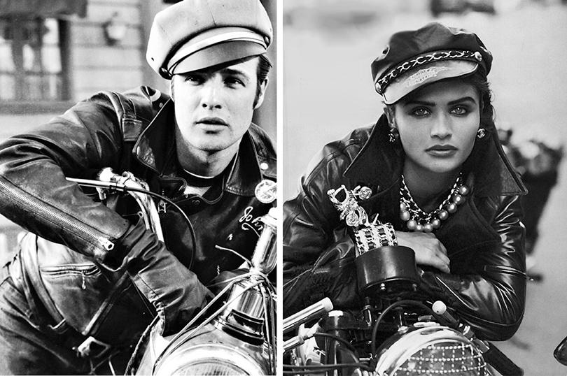Men in Style: модная легенда Марлон Брандо. Хелена Кристенсен примерила насебя образ Марлона Брандо для журнала Vogue (фото Питера Линдберга, 1991)