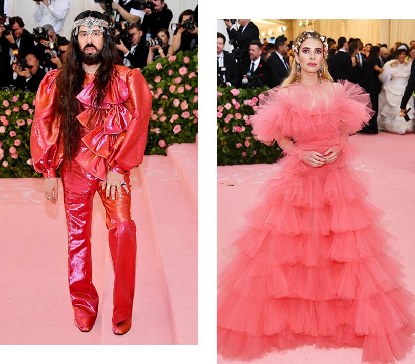 Бал Института костюма – 2019: Алессандро Микеле (в Gucci). Эмма Робертс (в Giambattista Valli Haute Couture)