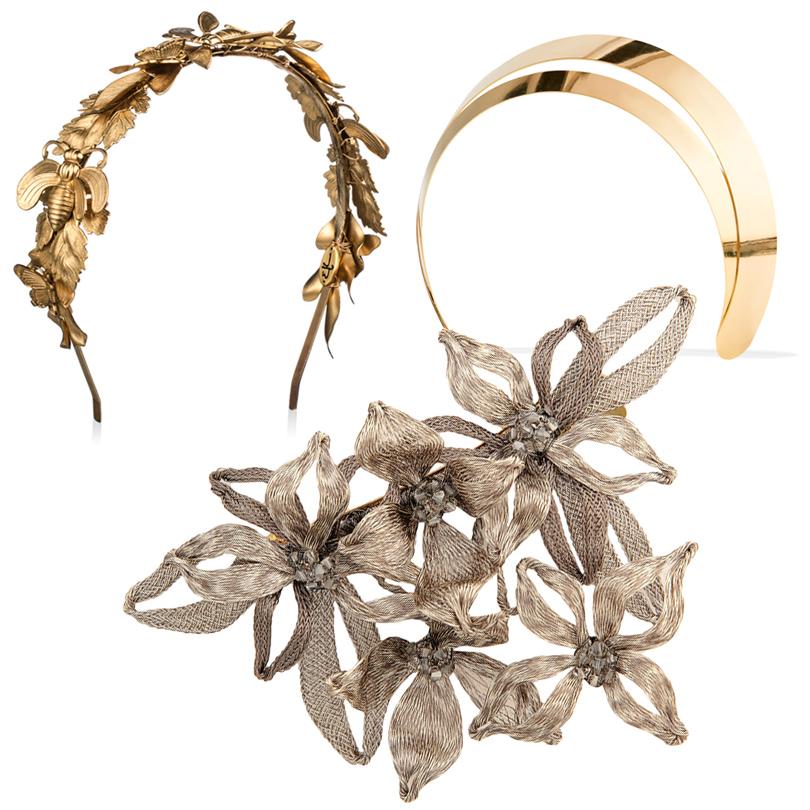 Ободок Eugenia Kim, украшение для волос спозолотой Lelet, заколка ввиде цветов жасмина Colette Malouf (ЦУМ)