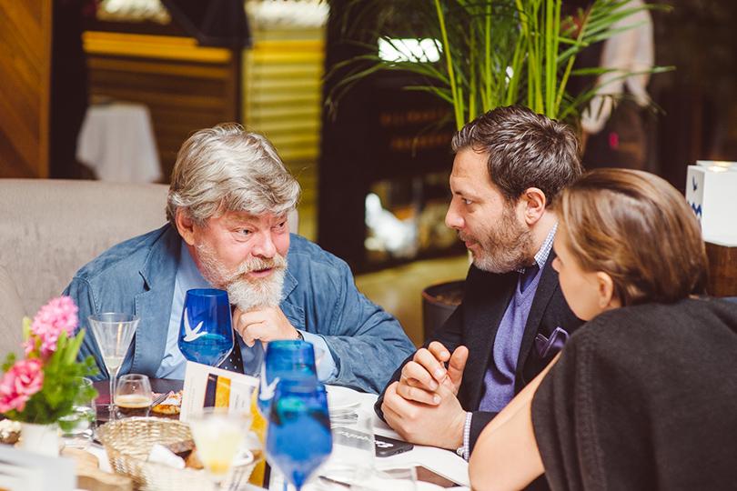 Юбилейный ужин Golden Triangle вресторане Selfie. Константин Ремчуков, Сергей и Лиза Минаевы