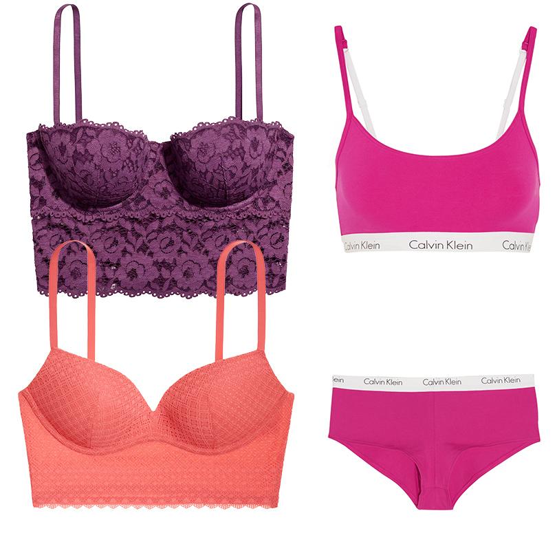 Главные бельевые тренды этой осени. Фиолетовое бюстье H&M, розовый бралетт Victoria's Secret, комплект спортивного белья Calvin Klein Underwear2