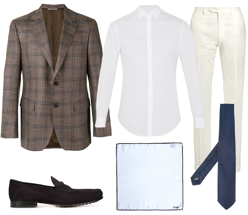Блейзер, Canali; рубашка, Giorgio Armani; галстук, Tonello; брюки, Brioni; лоферы, Tod's; нагрудный платок, Drake's