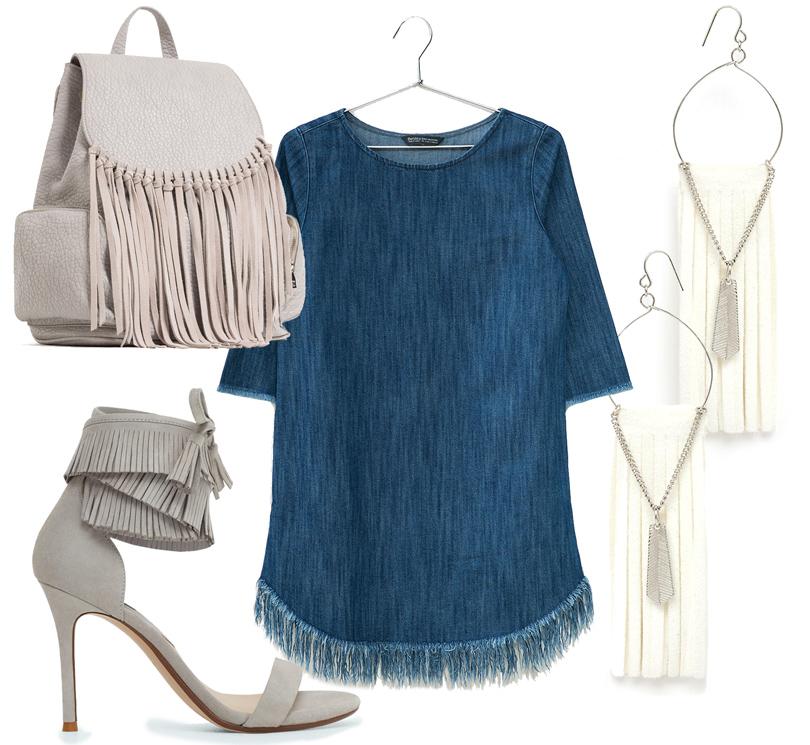 Босоножки навысоком каблуке Mango, рюкзак Zara, платье изденима Bershka, серьги ASOS