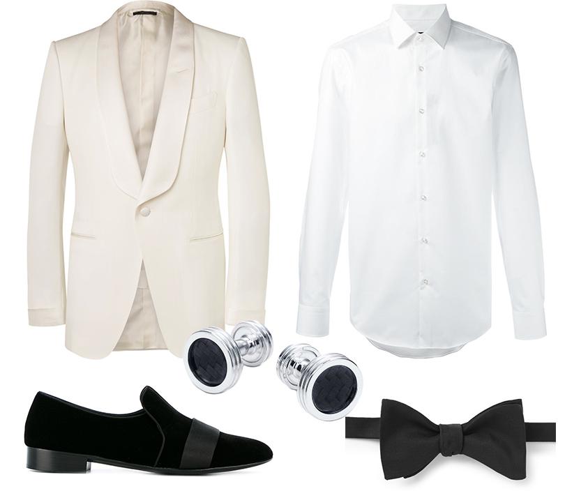 Белый смокинг, Tom Ford; рубашка, Boss Hugo Boss; бабочка, Hackett, запонки, Tiffany &Co., лоферы, Giuseppe Zanotti Design