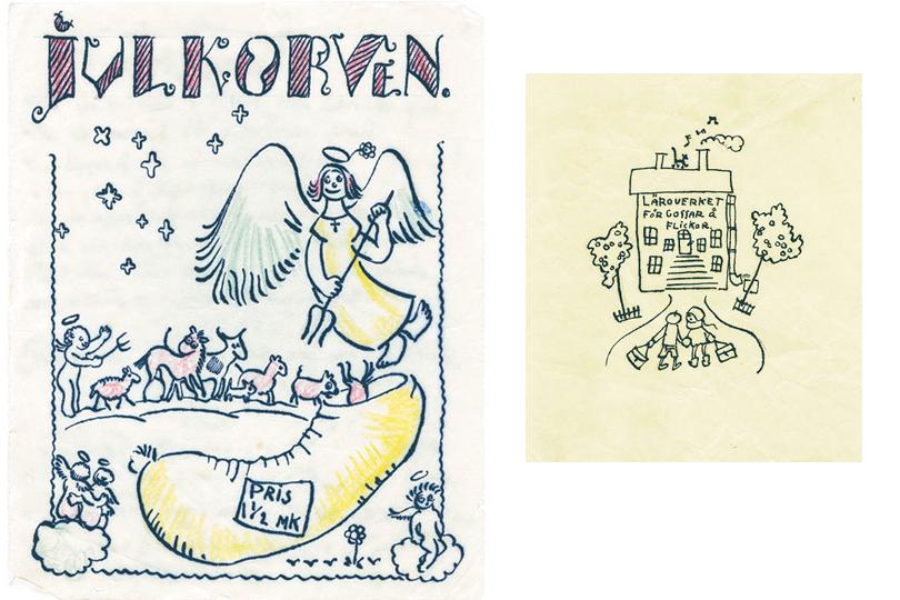 Обложка, выполненная Туве для школьного журнала Рождественская колбаса, 1920-е годы / Школа. Рисунок Туве, 1920-е годы