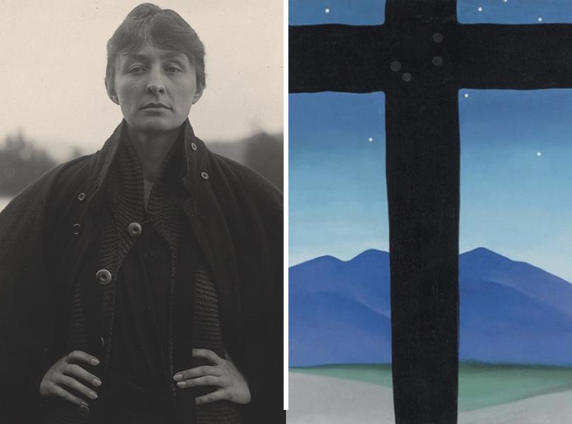 Альфред Стиглиц. Портрет Джорджии О'Кифф, 1918г.; Джорджия О'Кифф. «Черный крест созвездами иголубым», 1929г.