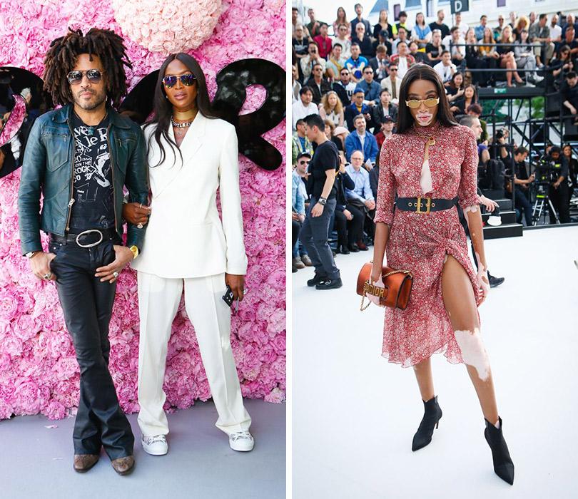 Первый показ Кима Джонса для Dior Homme. Ленни Кравитц иНаоми Кэмпбелл. Винни Харлоу