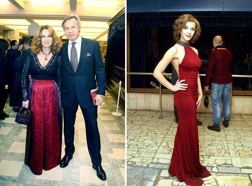 Церемония «Золотой орел-2015» на «Мосфильме»: Алексей Пушков с женой, Лиза Арзамасова