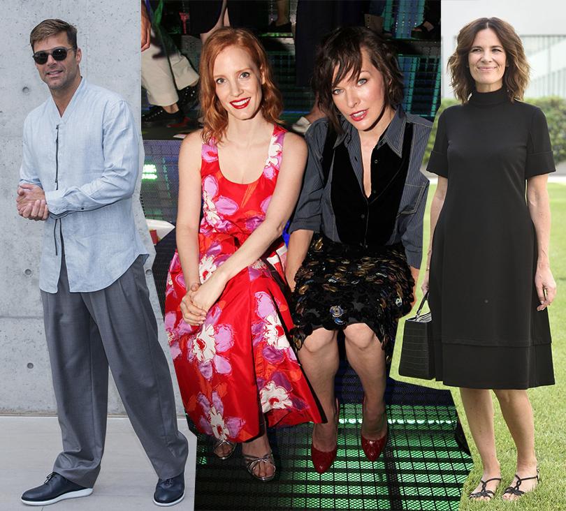 Street Style: лучшие образы на неделях мужской моды. Рики Мартин на показе Giorgio Armani, Джессика Честейн и Мила Йовович на показе Prada, Роберта Армани